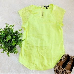 Express Neon Green Lime Blouse Sequence